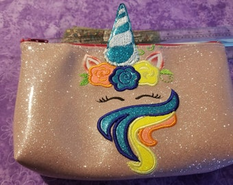 Unicorn Zipper reusable snack Pouch 5x7 Washable