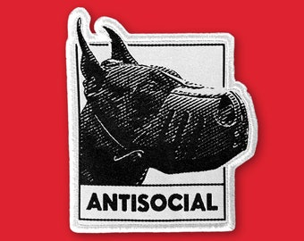 Mad Dog Antisocial Patch | Iron on, Sew on Woven Embroidery Patch