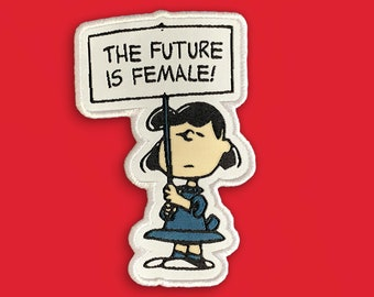 Feminist Peanuts Patch | The Future is Female | Iron on, Sew on Woven Embroidery Patch