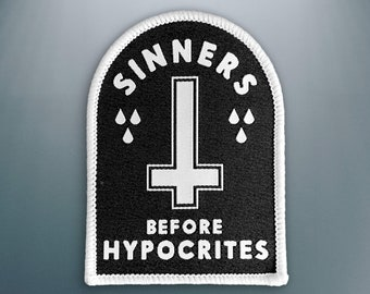 Sinners before Hypocrites Patch | Inverted Cross Woven Embroidery Patch | Iron on, Sew on Patch