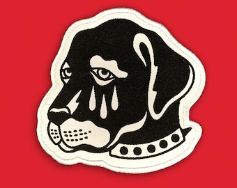 Sad Boy Patch | Dog Tattoo Flash Iron on, Sew on Woven Embroidery Patch