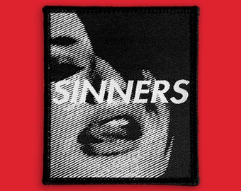 Lust & Sinners Patch | Aesthetic Goth Punk Streetwear | Iron on, Sew on Woven Embroidery Patch