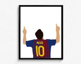 Lionel Messi Sports Poster - Football, Soccer, Barcelona, Barca, Argentina, World Cup, Olympics, Wall Art Decor