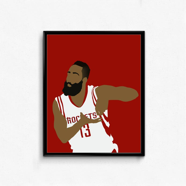 eacb4b1fdee0 James Harden Sports Poster Basketball Poster Stir Rockets