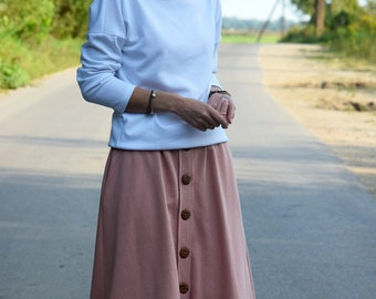 4d9578ea59 LUPE - Trapezoidal midi skirt with buttons / cotton skirt / autumn skirt /  handmade skirt / dirty pink skirt / made in Poland