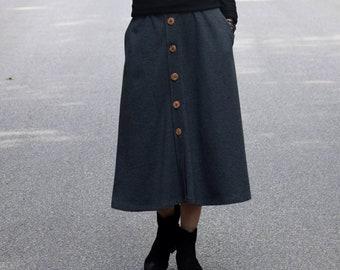 d1a32750c6 LUPE - Trapezoidal midi skirt with buttons / cotton skirt / autumn skirt /  handmade skirt / graphite skirt / made in Poland / dark gray
