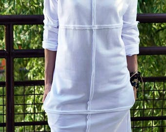 ONE - white mini dress / cotton dress / with pockets / with long sleeves / casual dress / XS to XL / summer dress / unique dress