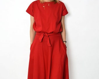 LUCY - Midi Flared cotton dress form Poland / handmade dress / 100% cotton dress / vintage dress / spring / summer / red dress