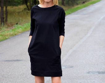 CARRIE - cotton tunic / dress with pockets / vintage clothes / black tunic / black dress / midi dress / mini dress / vintage tunic / simple