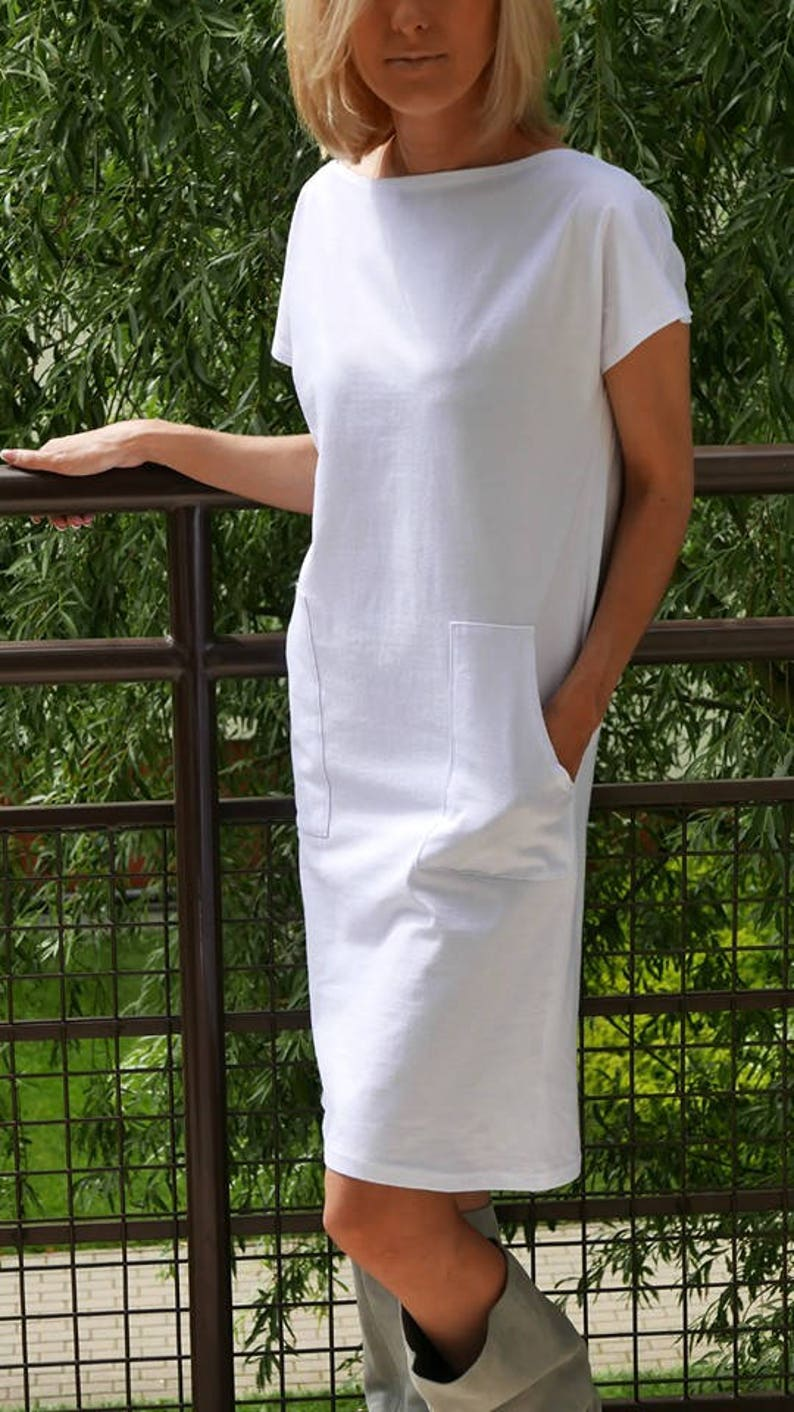 1c57f294d86 DIANA Knitted tunic with pockets   midi dress   cotton dress