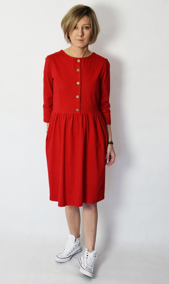ALISON cotton midi dress with buttons flared dress red dress vintage dress handmade dress 100% Polish product spring summer