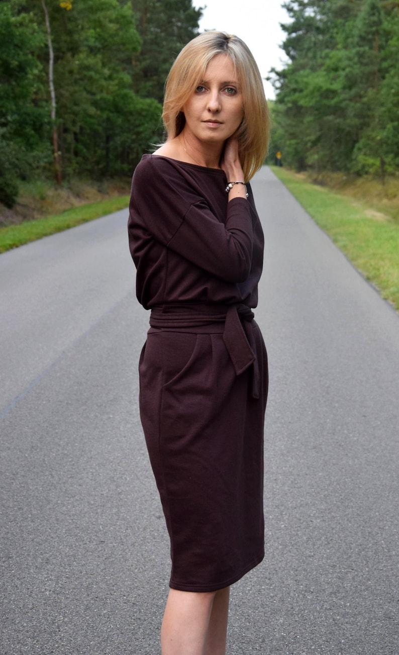 100/% cotton midi dress  autumn dress  dress Knee Length  color brown chocolate  simple dress  pockets  tied dress  work dress KIKA