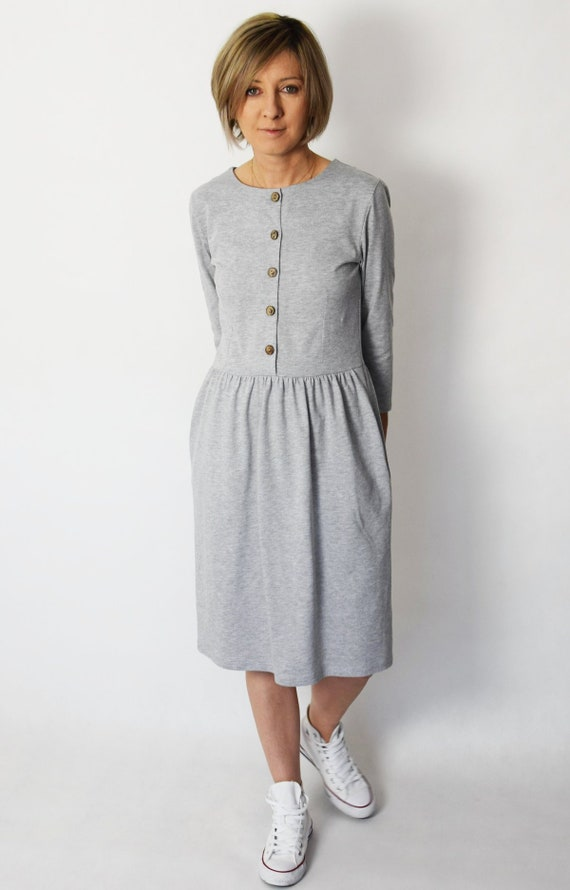 ALISON cotton midi dress with buttons flared dress gray dress vintage dress handmade dress 100% Polish product spring summer