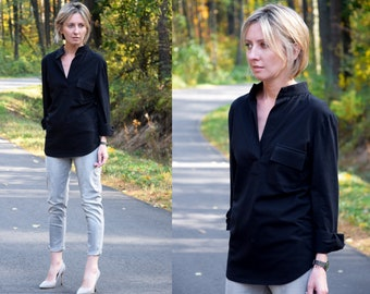 LOLITA - 100% cotton blouse with a stand-up collar / handmade in Poland / several colors / elegant at the same time at ease