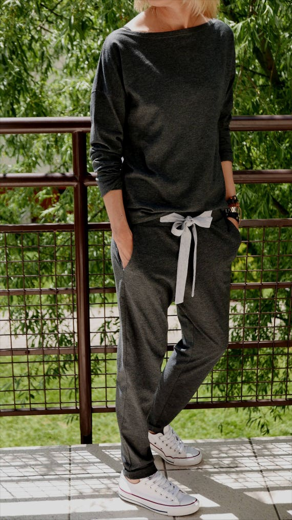 OFFICE 100/% cotton pants with a bow  sweatpants  loose trousers  grey sweatpants  made in EU  unique pants  5 colors