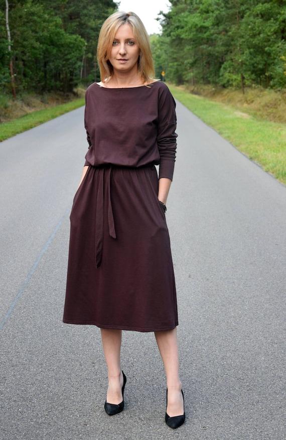 ROSE 100% cotton dress with belt chocolate color long sleeve and pockets midi dress casual dress vintage dress handmade dress