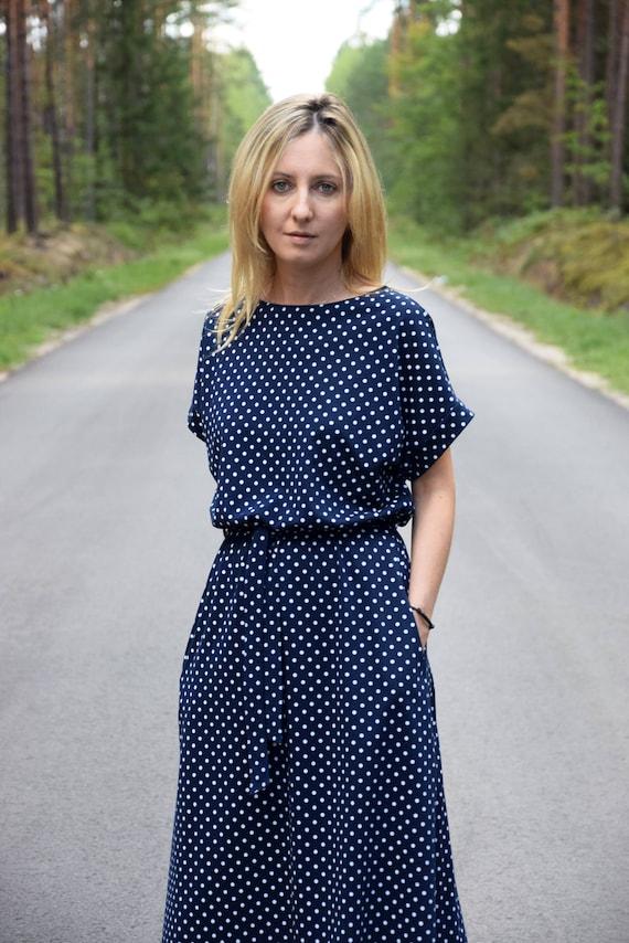 MANILA Cotton midi dress, navy blue with white dots autumn dress unique dress party dress office dress loose dress retro dress