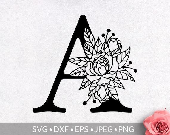 Floral Alphabet Letter A Svg Flower Monogram Clip Art Etsy