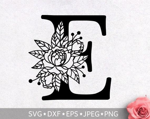 Floral Alphabet Letter E Svg Flower Monogram Letter Clip Art Etsy