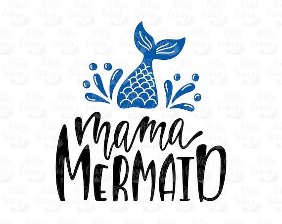 Mermaid Cutting File for Silhouette and Cricut Vinyl Cut Machines, Mama Mermaid and Mini Mermaid SVG cut file set