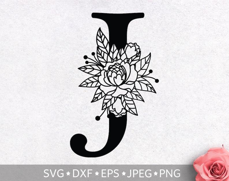 Wedding clipart Silhouette Cut File SVG File For Cricut Floral Alphabet Letter J SVG Vector PNG Cutting Print Flower Monogram clip art