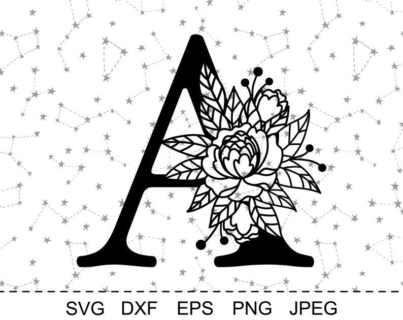SVG File For Cricut Silhouette Cut File Vector PNG Cutting Print Flower Monogram clip art Wedding clipart Floral Alphabet Letter A SVG