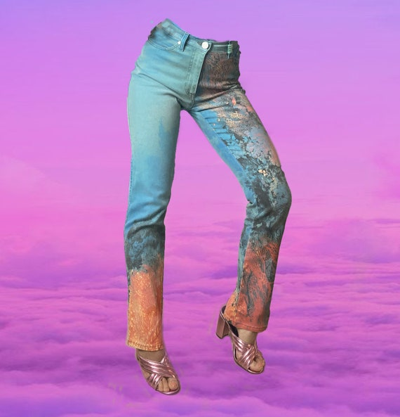 ROBERTO CAVALLI jeans coral printed ocean jeans