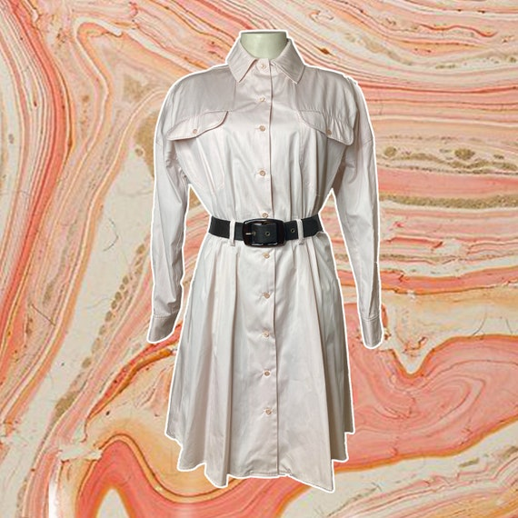 GIVENCHY vintage pleated shirt dress pink pastel s