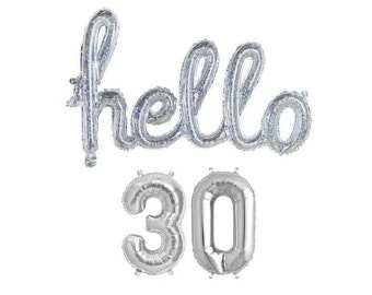 Hello 30 30th Birthday Party Balloons Decorations Thirty Decor Balloon Letters
