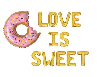 c382f66113bd Love is Sweet Balloons Donut Bridal Shower Wedding Donut Bar Engagement  Party Donut Table Sweets Table Decor Bridal Shower Decorations