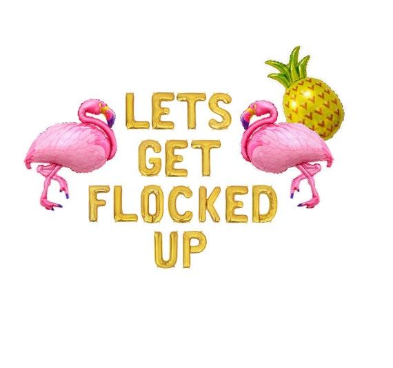 Lets Get Flocked Up Funny Flamingo Retro Kitchen Towel
