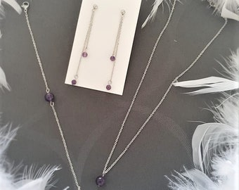 Stainless steel and Amethyst set