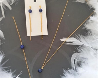 Set Lapis Lazuli and gold stainless steel