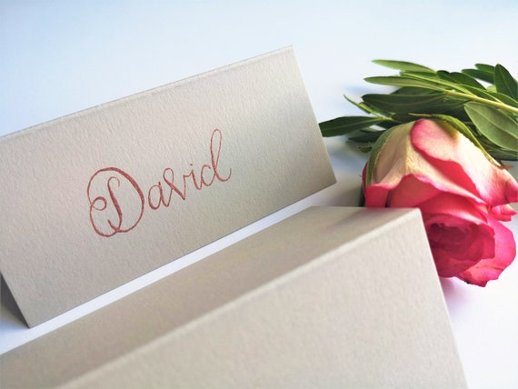 100 x Place Name Cards Ivory Hammer Embossed Weddings