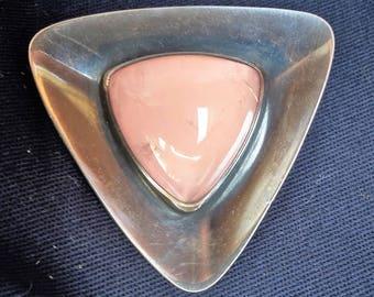 Brooch N. E. From Niels Erik from Denmark Sterling silver 925 modernist Rosenquartz