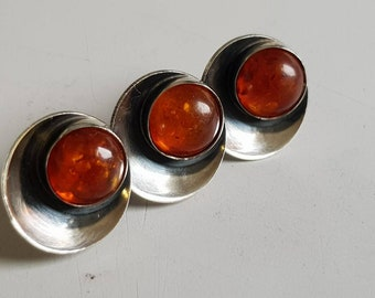 NE from Denmark brooch with amber Silver 925