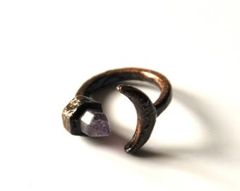 Black copper, elven jewelry amethyst and Sterling Crescent Moon ring / magical
