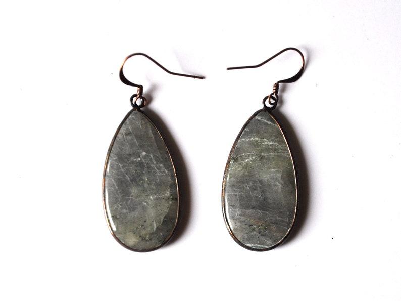 d39e1999e Labradorite earring drops charms spectrolite pair grey   Etsy