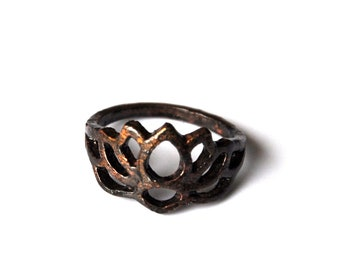 Black weathered vintage copper lotus flower ring. zen jewelry for women