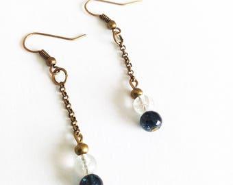 DESTASH beads bronze earrings black and white