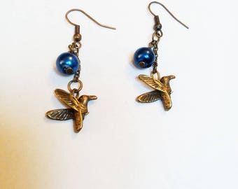 DESTASH bronze Pearl Earrings Blue Bird