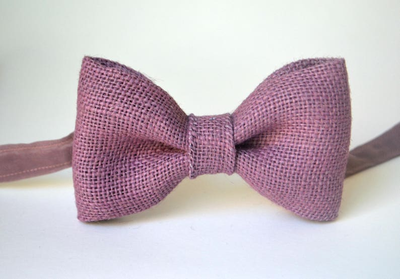 4bf899b034cd Dusty Rose Burlap Bow Tie For Men Mauve Bow | Etsy