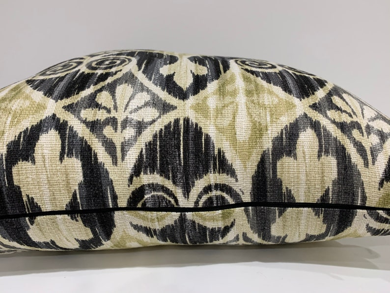 Geometric print pillow covers with Pom Pom trim Boho style Green and black pillow cover Handmade in USA Moroccan style Ready to ship,