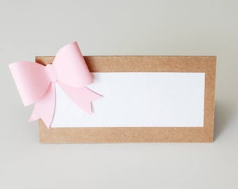 Bow Place Cards - Food labels - Baby Shower- Pack of 10 - Oh Goodness Paper Co