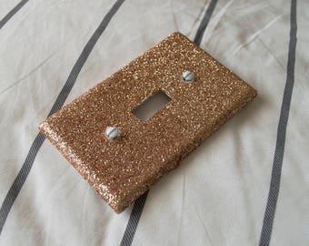 Gold Glitter Standard Single Light Switch Plate