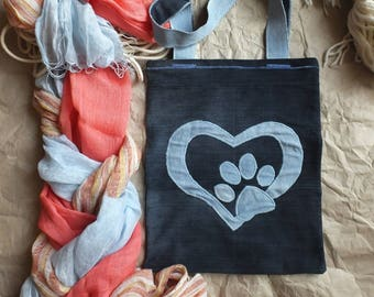 "0ce3e0a6931 Denim Tote Bag ""Dog Lover"", Garyusha Denim Bags Design, Denim 100%, Jeans  Tote Bag, Upcycled Denim Bag, Shopping Bag, Vintage Bag"