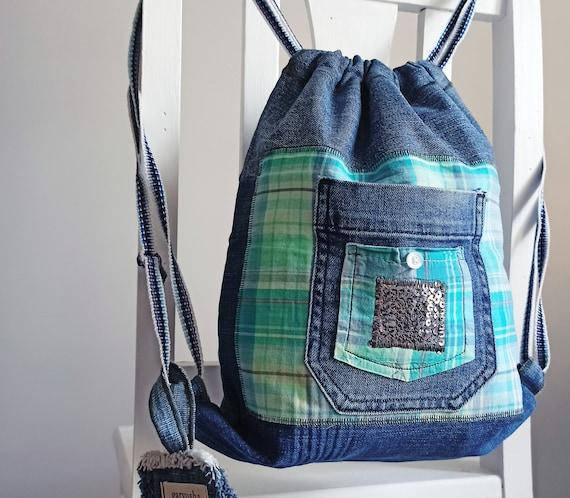 Handmade bag Eco bag Blue backpack Jeans bag Fashion bag Backpack purse Denim backpack Blue bag Backpack Blue denim bag