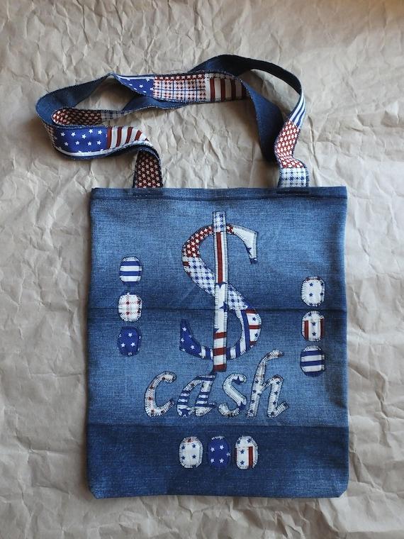 f9bddab9dff Denim Tote Bag Cash Garyusha Denim Bags Design Denim 100%   Etsy