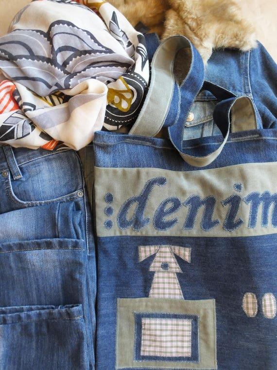 411ef771577 Denim Tote Bag I Love Denim Garyusha Denim Bags Design   Etsy