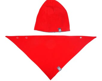 Two-sided set: beanie + scarf, Red